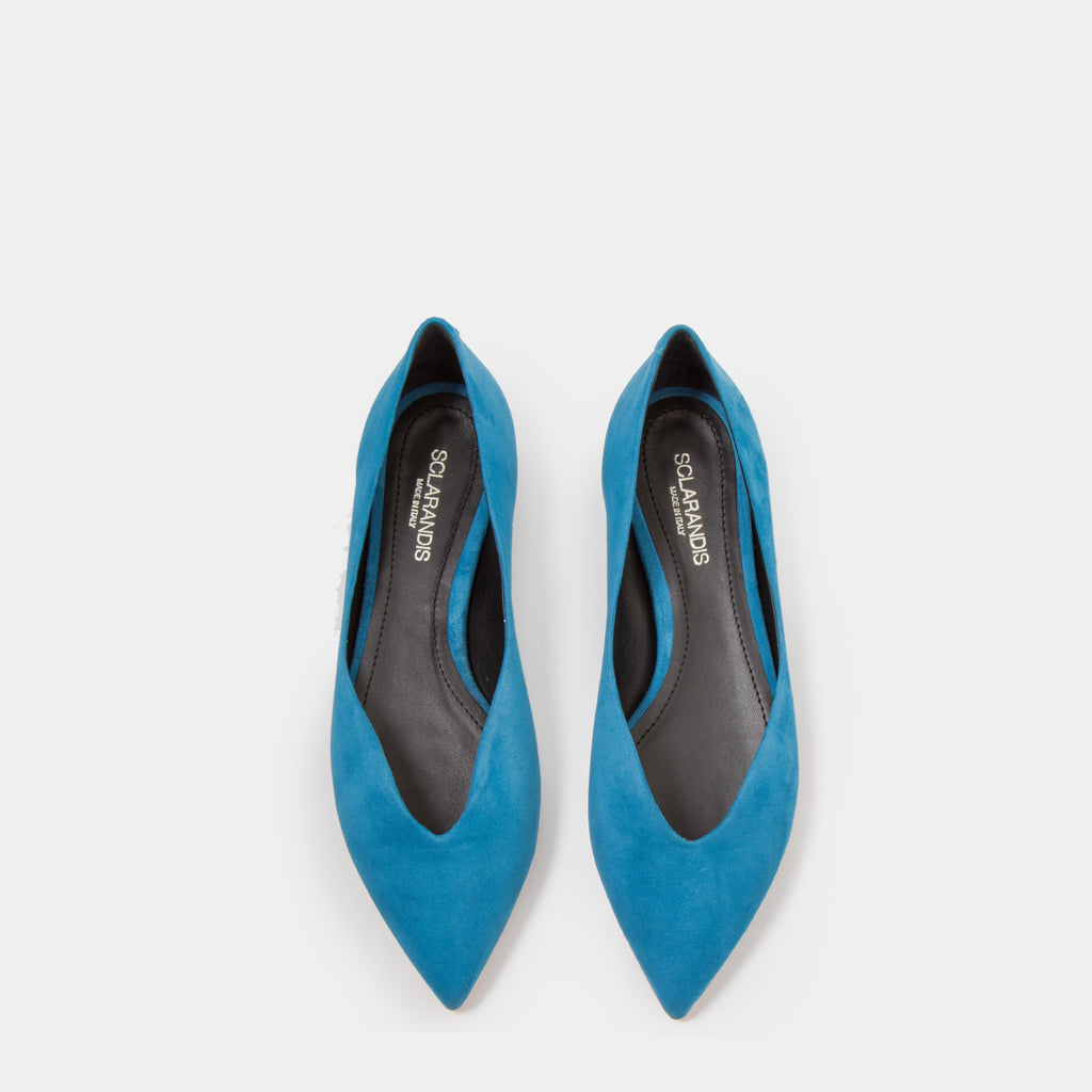 Azure suede Pointy toe flat slip-on