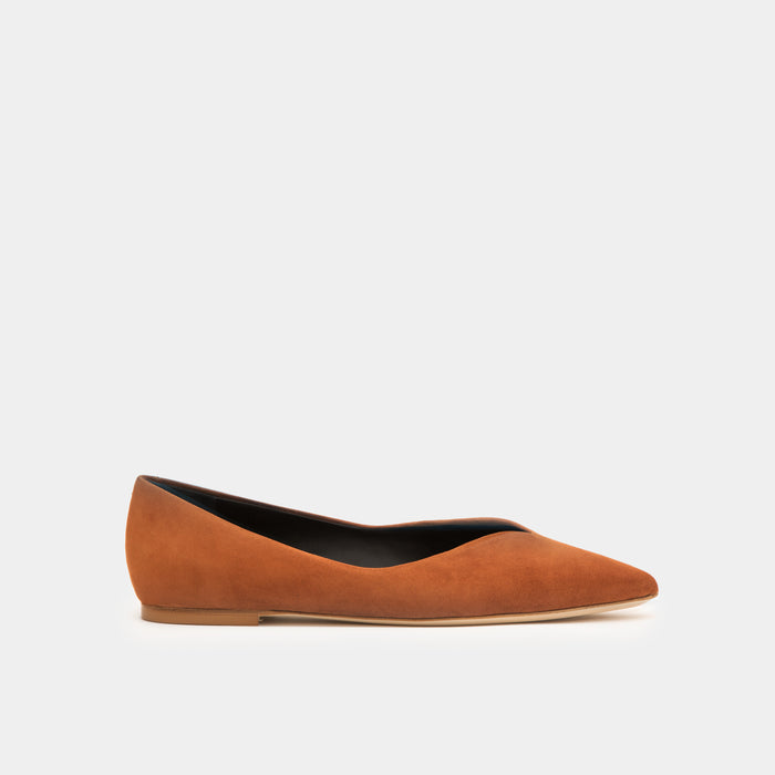 Cognac suede Pointy toe flat slip-on