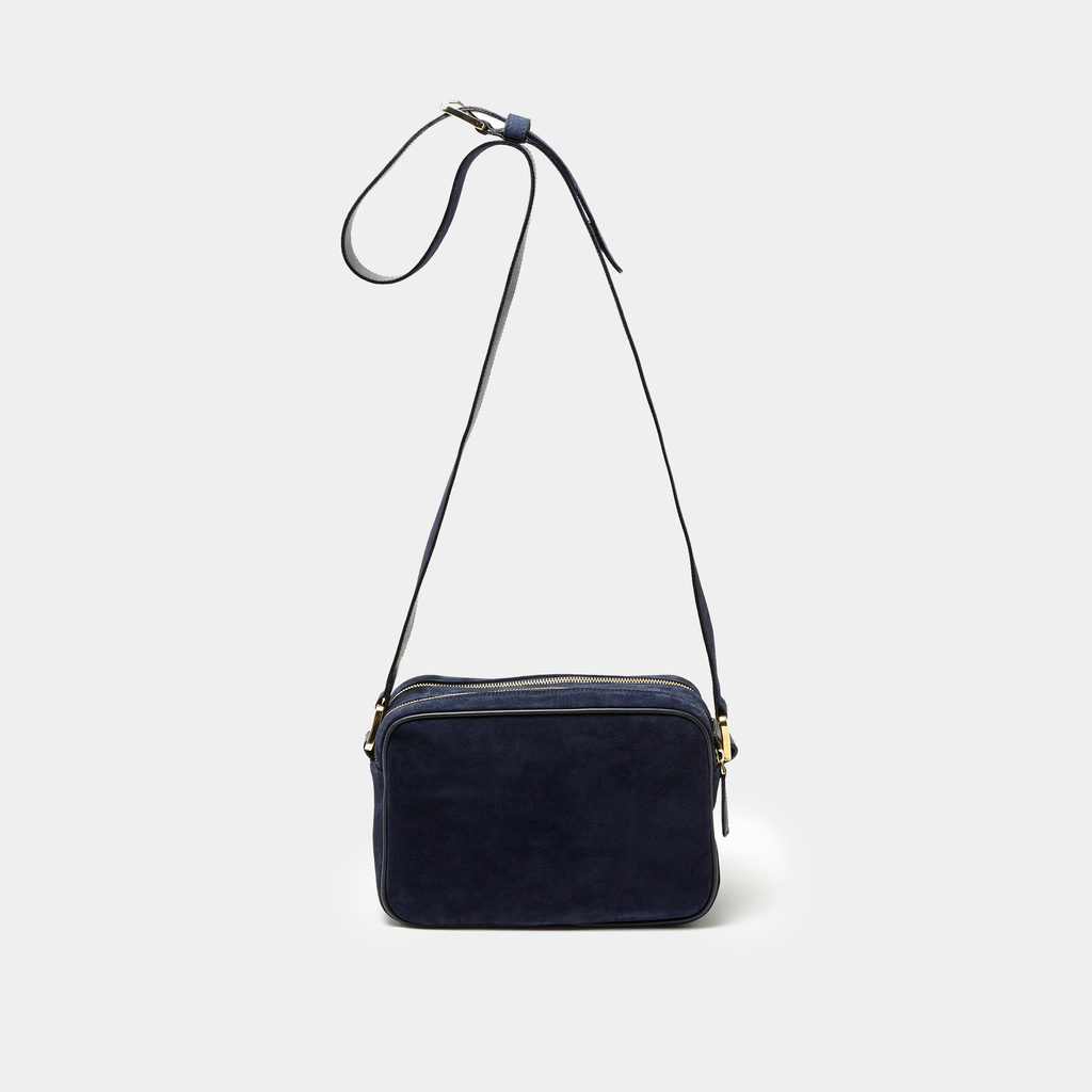Navy Suede Double zipper cross-body bag