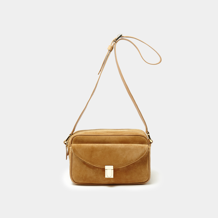Tan Suede Double zipper cross-body bag