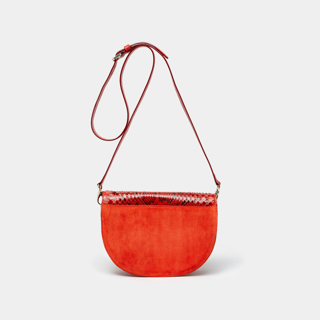 Red Suede with Red and Black Python Half moon shaped cross-body bag