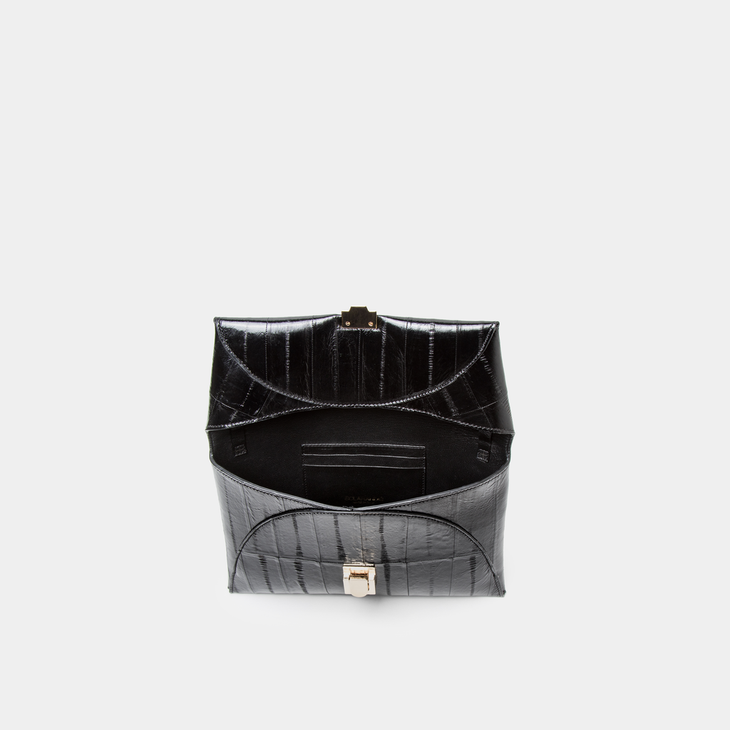 Black Eel Leather Clutch