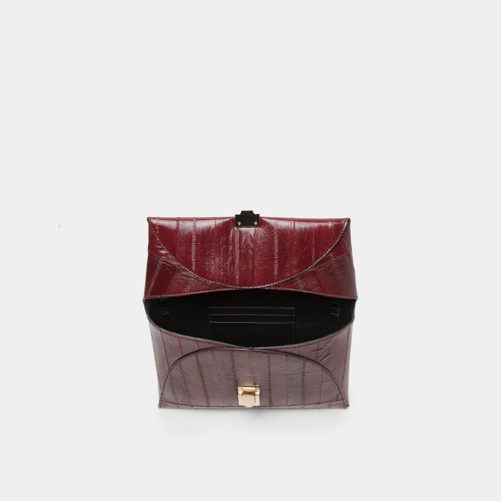 Burgundy Eel Leather Clutch