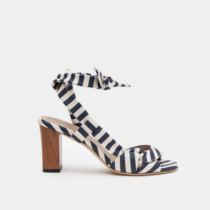 Navy and white striped nappa ankle tie Sandal with a block heel