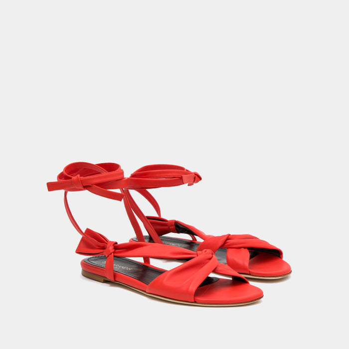 Red Knotted nappa flat sandal with an ankle tie wrap