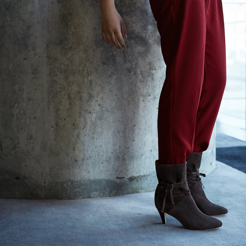 Sclarandis - Sonia Tie Boot - Grey Suede - Editorial