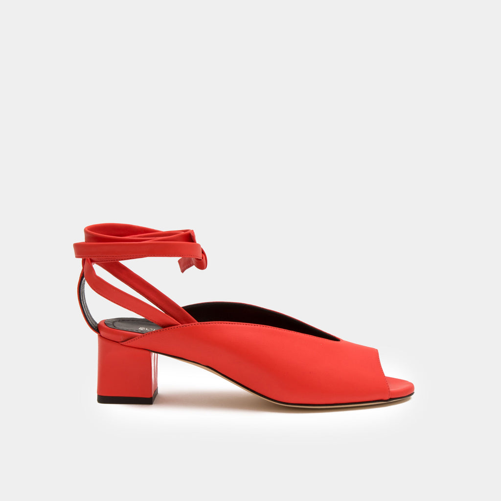 Red Nappa peep toe mule with an ankle tie wrap block heel