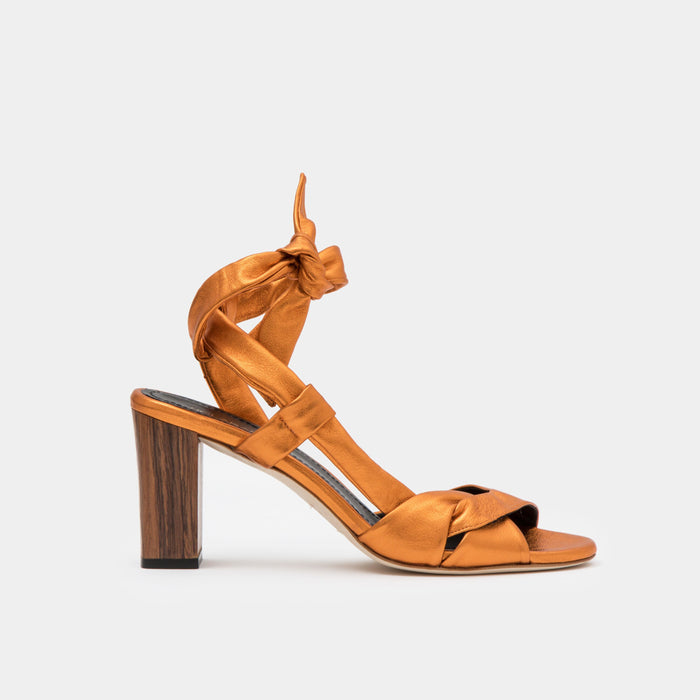 Copper metallic nappa ankle tie Sandal with a block heel