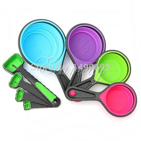 8 piece Food Grade Silicone Measuring Cups - collapsible for easy storage