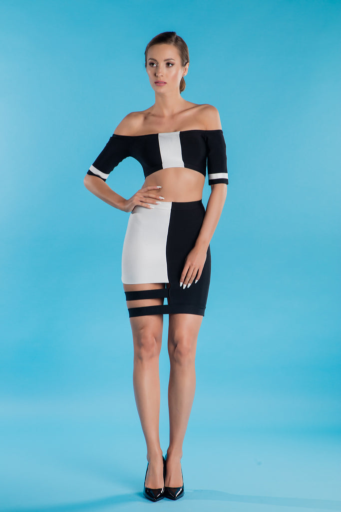 Black & White Bandage Dress Adamaris