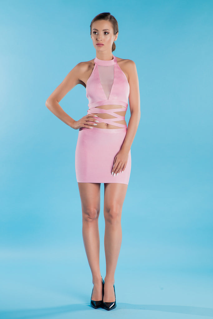 Pink Summer Bandage Dress Adel