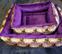 Poodle Bed -Purple & Gold with Black & White Poodles