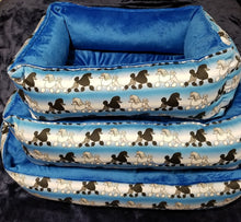 Poodle Bed -Blue & White with Black & White Poodles