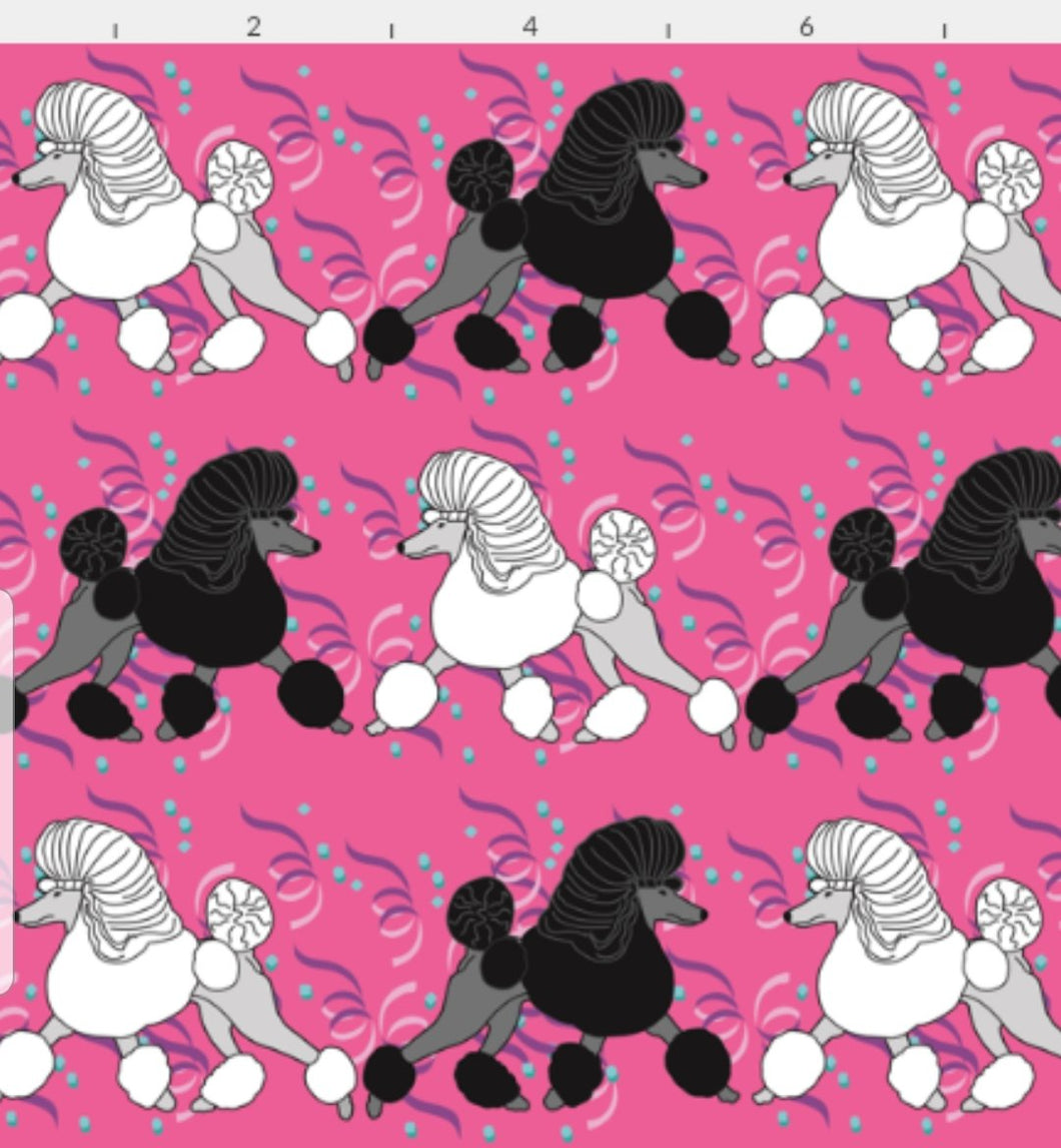 Poodle Bed - Party Poodles - Pink with Black & White Poodles