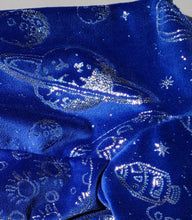 NEW! Pure Plush Fleece - Royal with silver metallic stars and planets