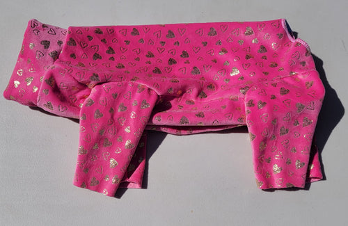 Pure Plush Fleece - pink with gold metallic hearts