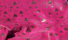 NEW! Pure Plush Fleece - pink with gold metallic hearts