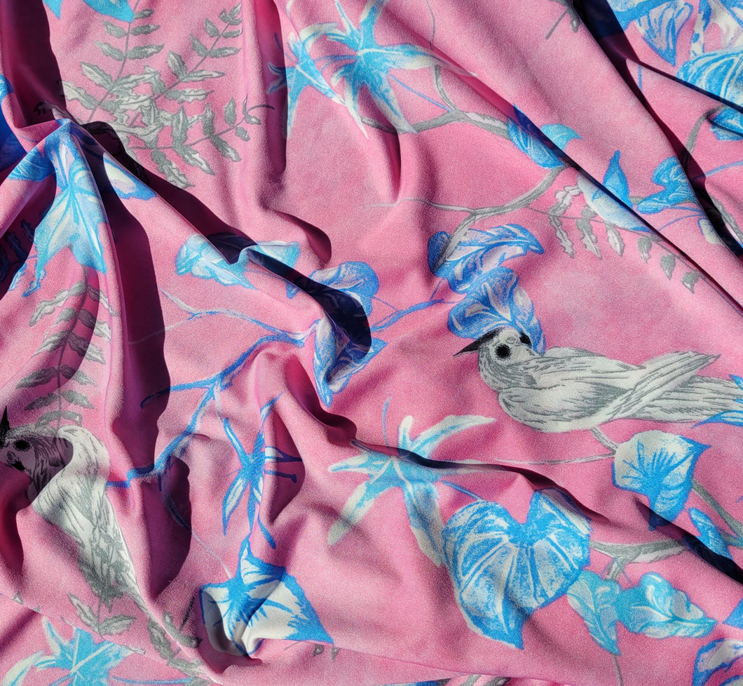 Slinky - light pink with blue leaves and birds