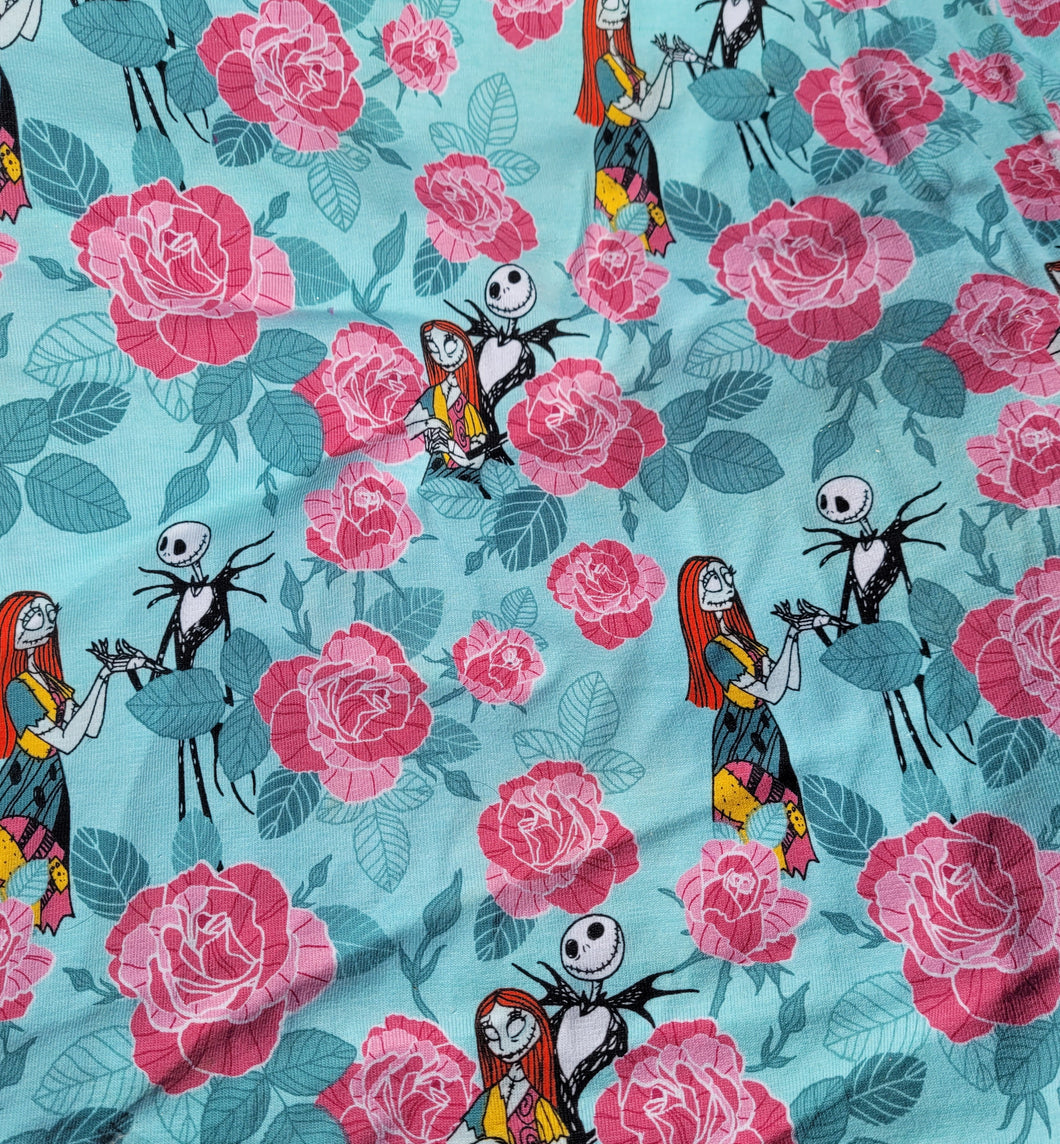 Knit - Jack and Sally teal with roses