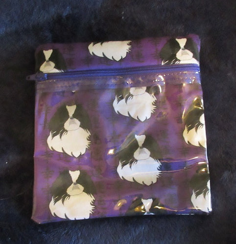 Leash Bag / Make-up Bag Japanese Chin Purple