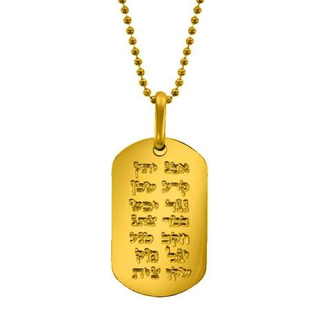 """ANA BEKOACH"" GOLD PLATED STAINLESS STEEL DOG TAG NECKLACE"