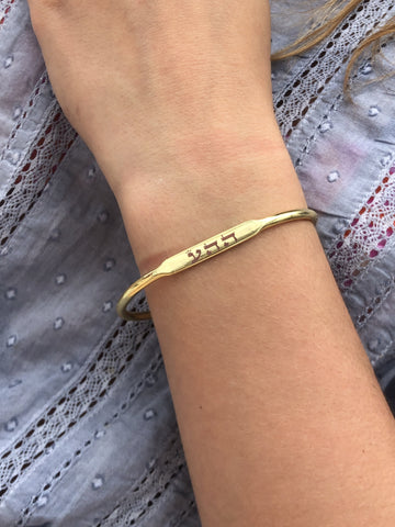 """LOVE"" BANGLE 14K GOLD PLATED OVER STERLING SILVER"