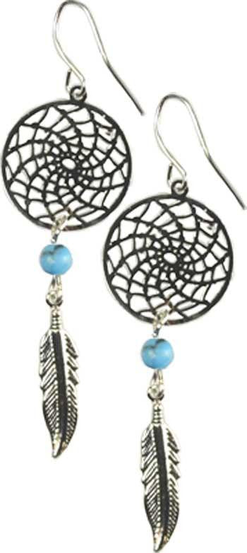 Dream Catcher Earring W- Turquoise - Awesome Sauce Gifts