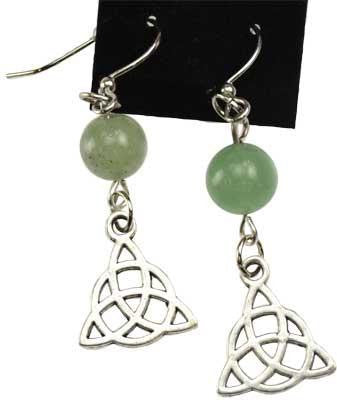 Green Aventurine Triquetra Earrings - Awesome Sauce Gifts