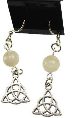 Moonstone Triquetra Earrings - Awesome Sauce Gifts