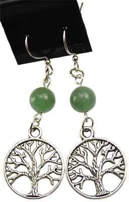 Green Aventurine Tree Of Life Earrings - Awesome Sauce Gifts