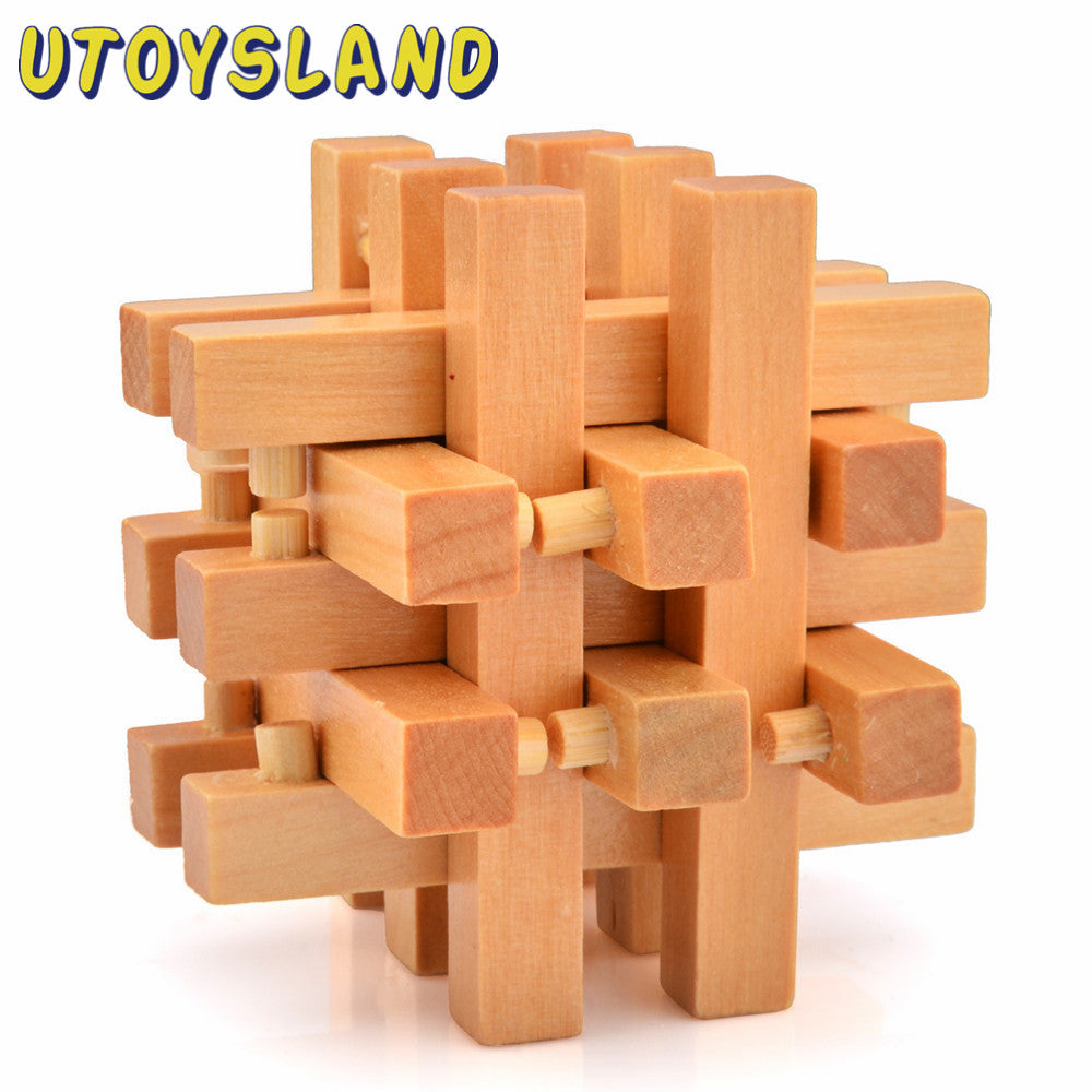 Classical Intellectual Toys 18 Sticks Wooden Cube/Educational Toy Wooden Puzzle Set,Kong Ming/Luban Lock