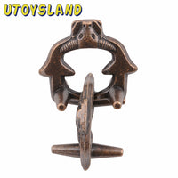 Bronze Cow Head Cast Metal Puzzle IQ Brain Teaser for Children Adults