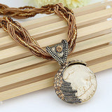 Vintage Boho Reiki Ball Opal Stone Pendant Necklace For Women Rhinestone Rope Lucky Divination Stone Necklace