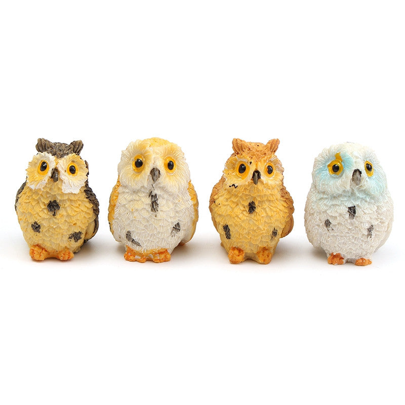 4Pcs/set Mini Owl Ornaments Resin Craft Doll house Garden Miniature Landscape Fairy Garden Terrarium Bonsai DIY Decoration