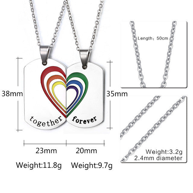 Vnox 2pcs/pair Couple Necklace Pendant Stainless Steel Rainbow Heart Wedding Jewelry Free 2 chains