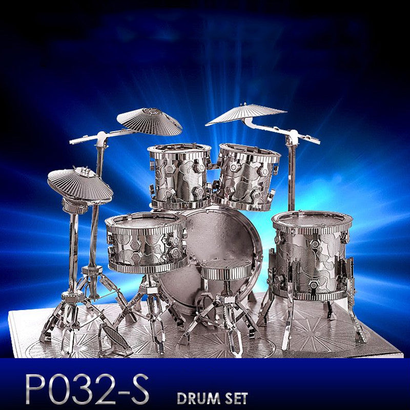 Stainless Steel DIY 3D Nano Jigsaw Puzzle Drum Set Model Building Toys