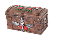 Pirate Skull Treasure Chest Jewelry/Trinket Box Figurine 5.5 Inches L