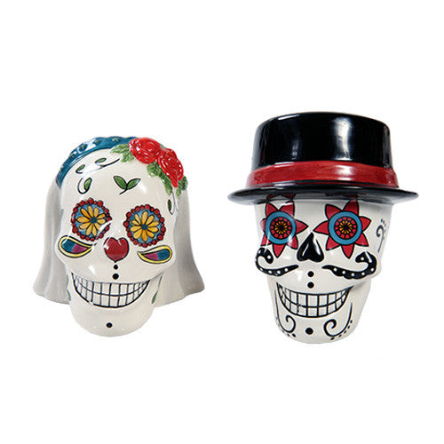 Day of the Dead Sugar Skull Wedding Couple Salt and Pepper Shaker Set