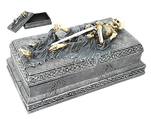 Skeleton Swordsman Tomb Resin Stash Box 8 Inches Long