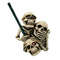 See Hear Speak No Evil Skeleton Collectible Figurine Pen Holder