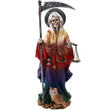 Santa Muerte Saint of Holy Death Standing Religious Statue 10 Inch Seven Powers (Rainbow)
