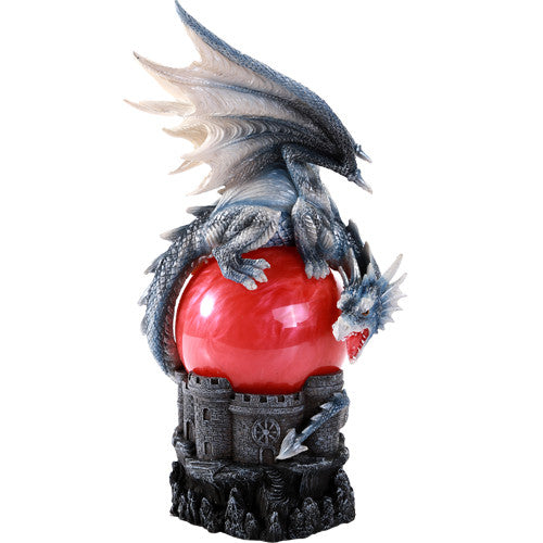 Guardian Dragon Perched On Red Sand Storm Ball Collectible Sound Activated
