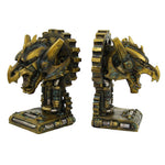 Decorative Steampunk Gearwork Dragon Book Ends Set