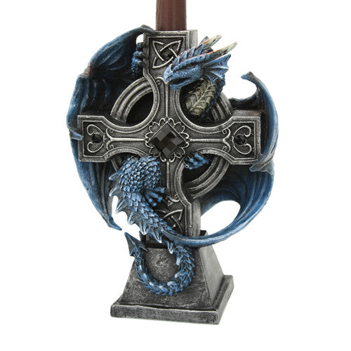 Altar Drake Crucifix Blue Mystic Dragon Candle Holder Stand