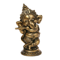 Ganesha The Hindu Elephant Deity Playing Flute Ganesh Figurine Sculpture 6 Inch H