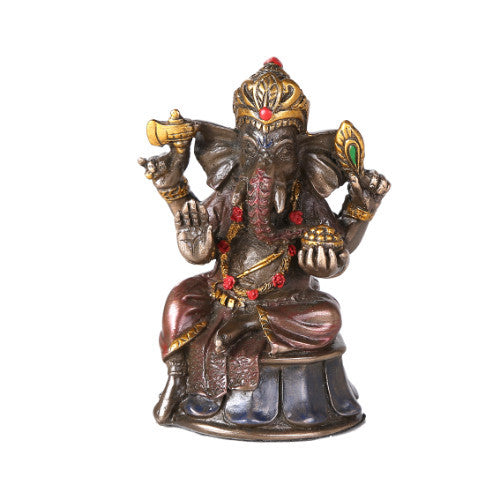 Mini Hindu God Ganesha Cold Cast Bronze Figurine Ganesh Hindu Elephant God of Success