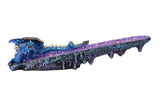 Blue Dragon on Amethyst Gemstone Quartz Stick Incense Burner Medieval Fantasy 10.75 Inch L