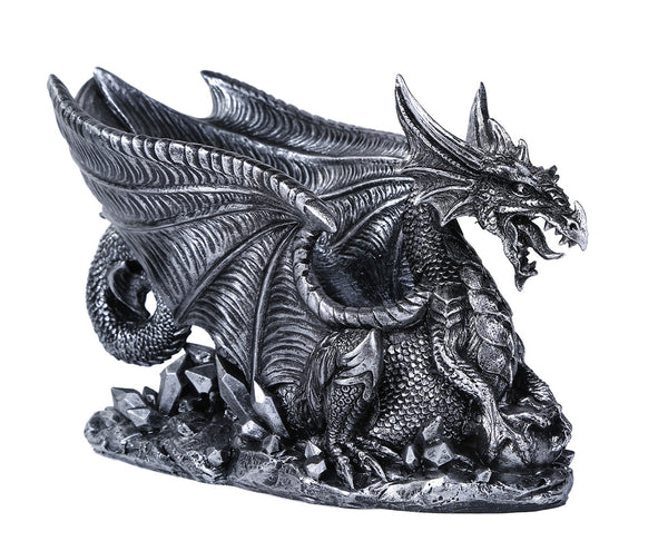 Mythical Dragon Wine Bottle Holder Medieval Fantasy Bar or Kitchen Table Decor Sculptures and Decorative Gothic Tabletop Wine Rack