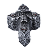 Celtic Skull Ossuary Style Cross Shape Coffin Lidded Trinket Box 6.5 inch L