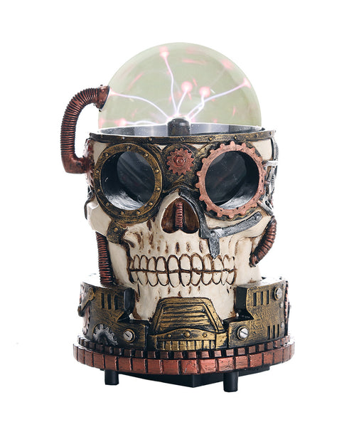 Steampunk Gearwork Plasma Skull Desktop Collectible 7 Inch H